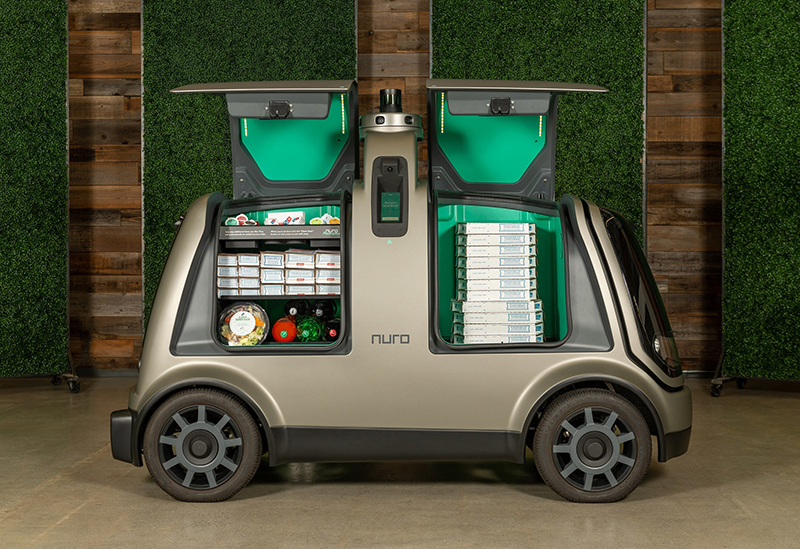 Nuro autonomous vehicle delivering Domino's Pizza