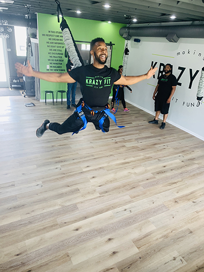 Krazy Fit instructor using bungee cord