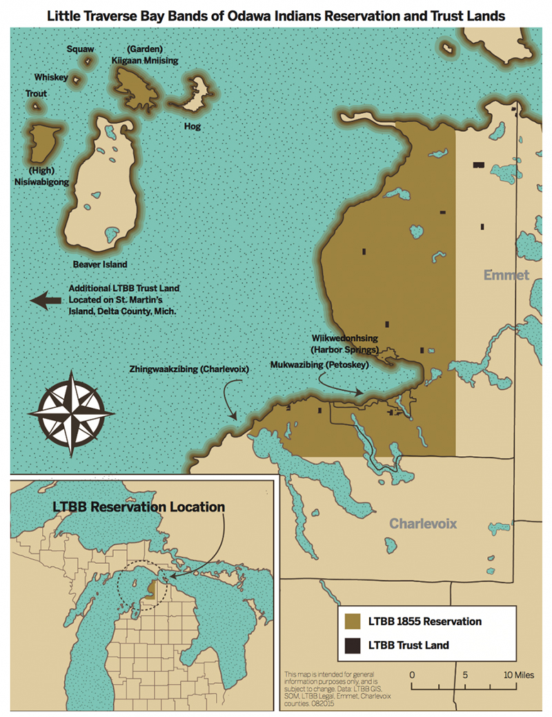 map of land claimed by Little Traverse Bay Bands of Odawa Indians in case