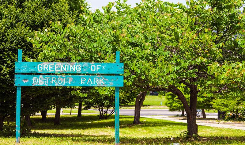 Greening of Detroit Park sign