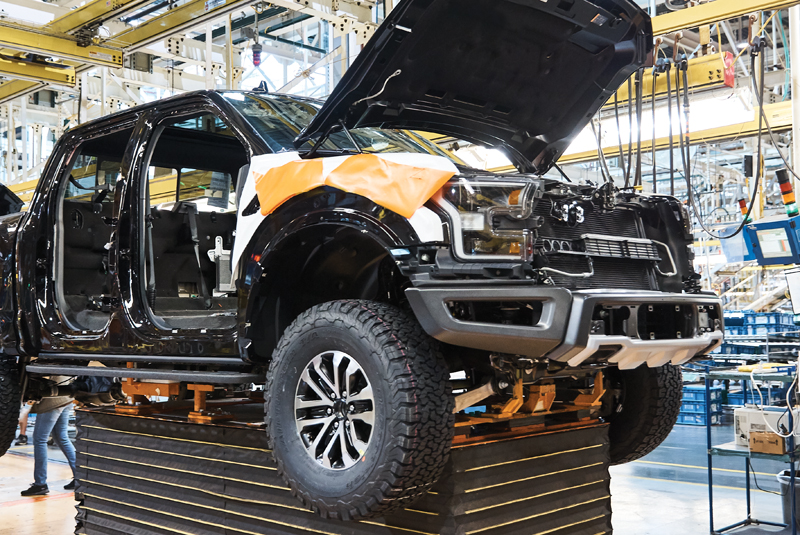F-150 pickup being built