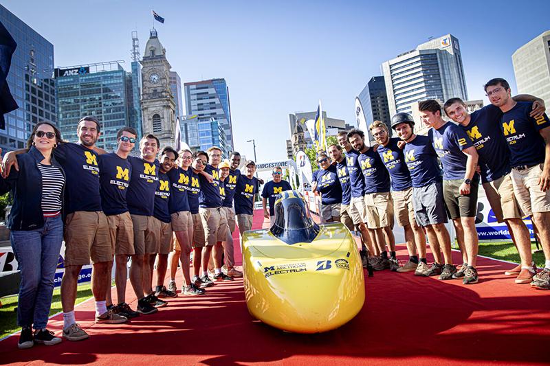 U-M Solar Car team with Electrum