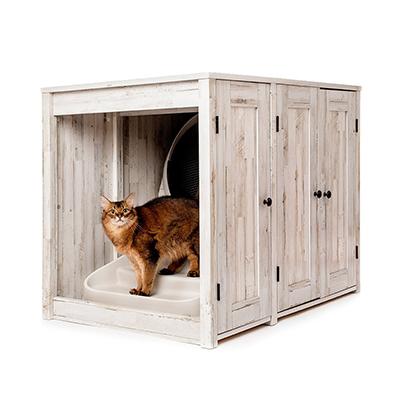 cat in litter box credenza