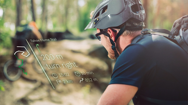 Biker using Smartglasses Light Drive module