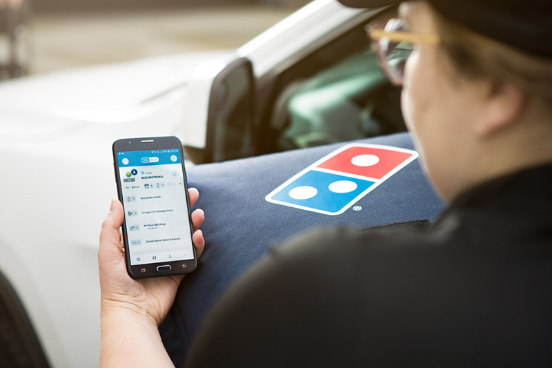 Domino's driver using GPS