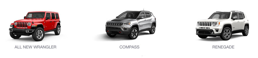 Jeep Compass, Jeep Renegade, and Jeep Wrangler