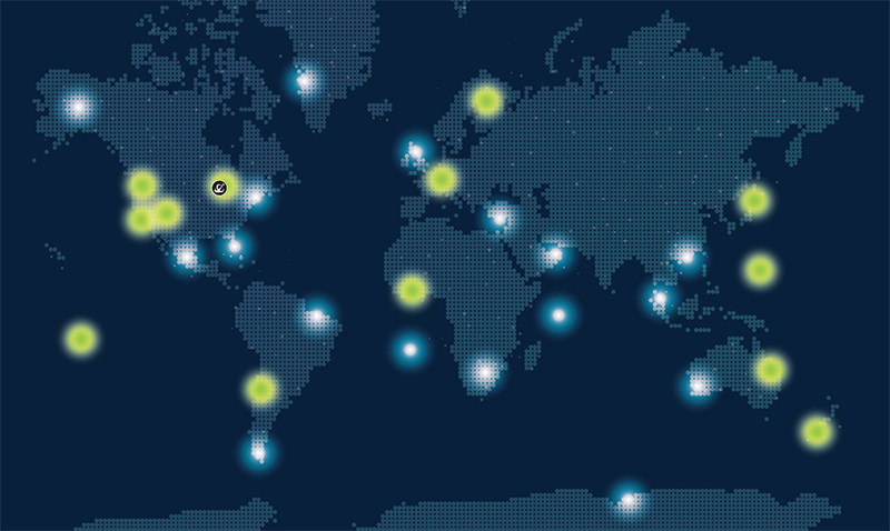 Map of Atlas Space Operations' satellite communications ground stations