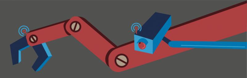robotic arm and sensor illustration