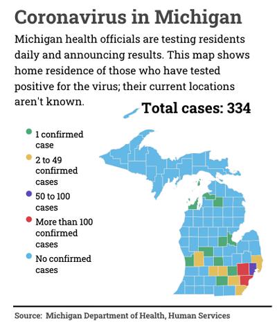 coronavirus in Michigan map, courtesy of Bridge