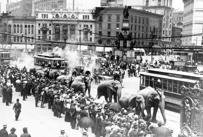 Ringling Bros. circus parade on Woodward Avenue