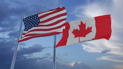 American and Canadian flags
