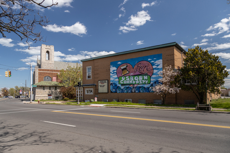 building with mural in Gratiot/7 Mile community